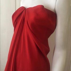 Lanvin Red Silk High Low Gown Kim Kardashian
